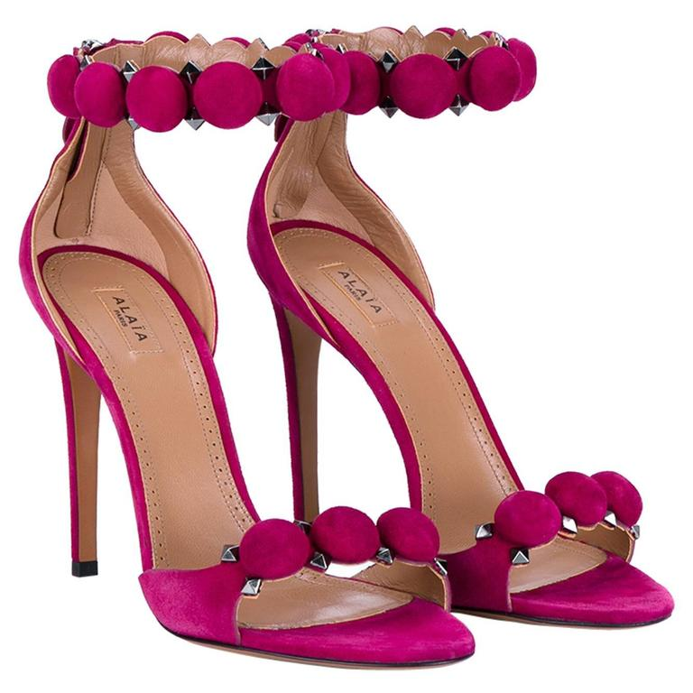 940afbce0be Alaia NEW and SOLD Out Raspberry Pink Suede Pom Pom Strappy Sandals in Box  For Sale