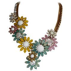 Philippe Ferrandis Glass and Swarovski Crystal Daisy Necklace