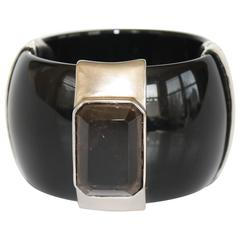 Goossens Paris Black Resin and Smoky Rock Crystal Bracelet
