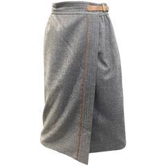 70s GUCCI grey wool wrap skirt