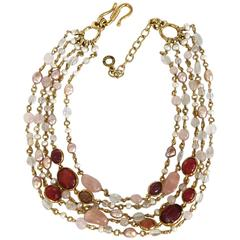 Goossens Paris 5 Row Tinted Pink Rock Crystal and Pearl Necklace