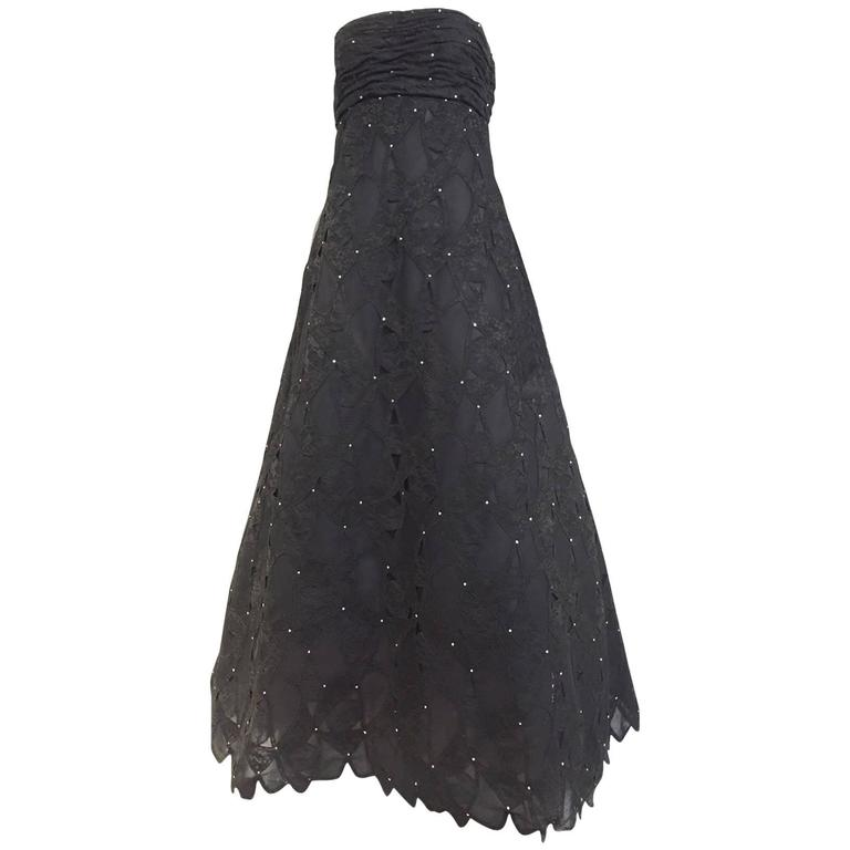 Vintage SCAASI Strapless Black Lace Gown with Rhinestones For Sale