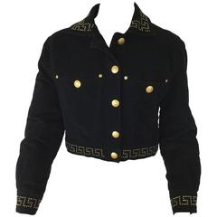 Versace Jeans Couture Black Velveteen Cropped Jacket.