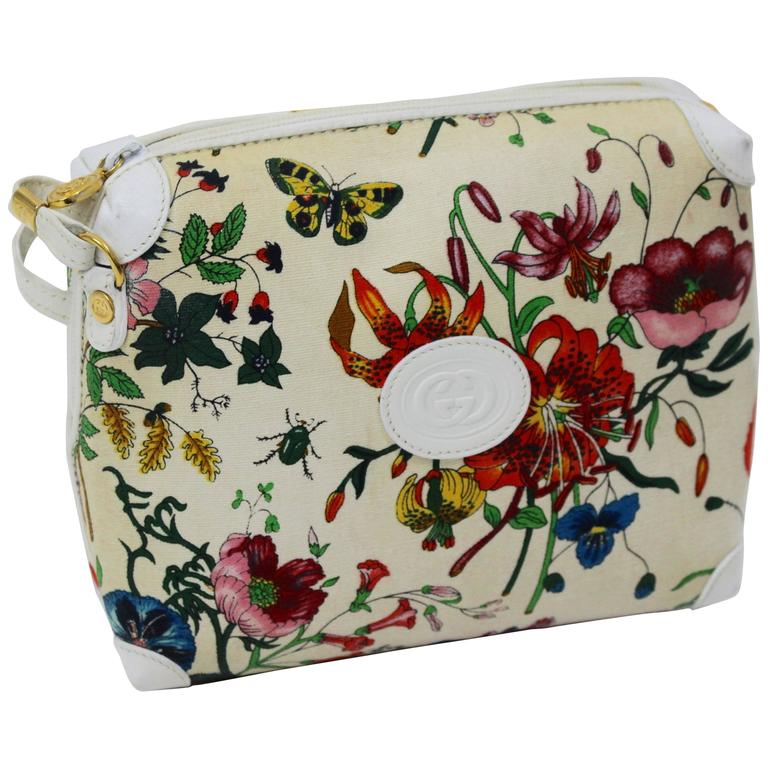 fdc8aa1413c368 Vintage Gucci Floral Canvas White Leather Cross Body Shoulder Bag Purse For  Sale
