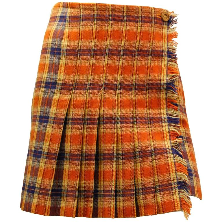 1980s Missoni Orange and Blue Plaid Pleated Wrap Skirt  1