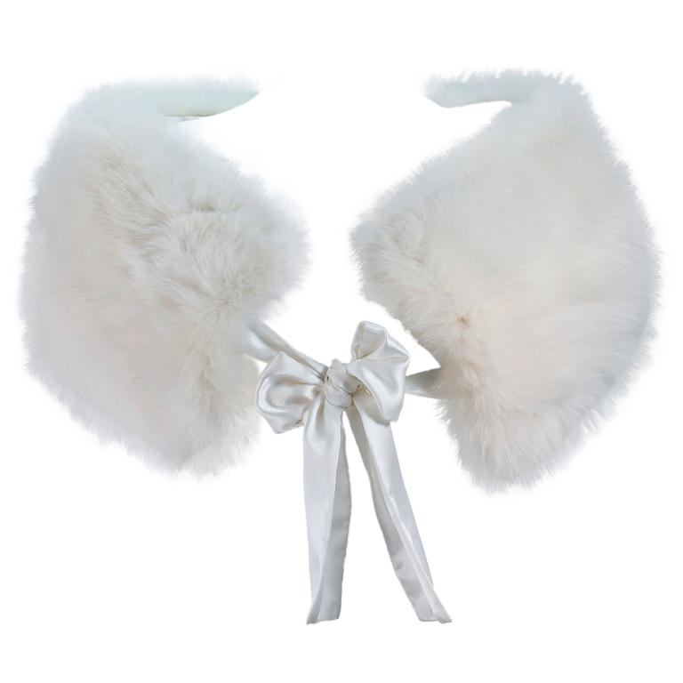White Fox Fur Wrap with Satin Tie