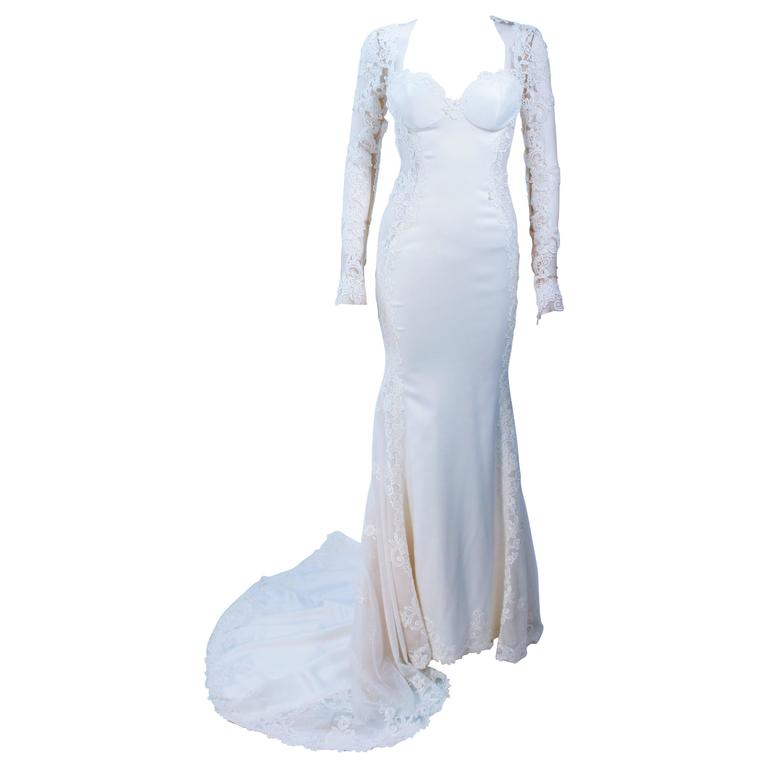 GALIA LAHAV Couture White Floral Lace Gown with Train and Sheer Details Size 2 For Sale