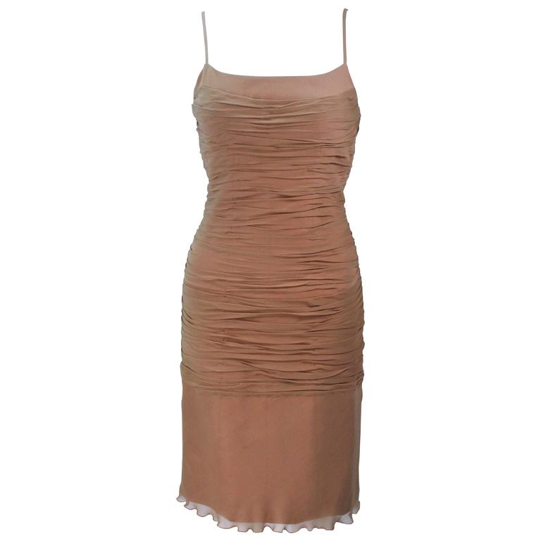 GALANOS Nude Silk Ruched Chiffon Cocktail Dress Size 6