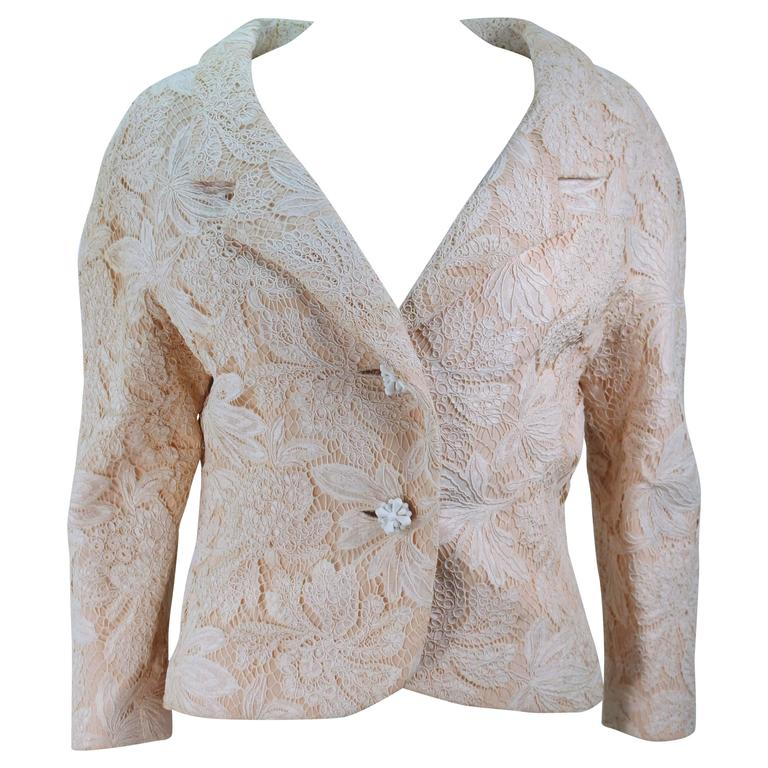 GALANOS Antique Cream Floral Lace Jacket Size 6-8 For Sale