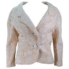 GALANOS Antique Cream Floral Lace Jacket Size 6-8