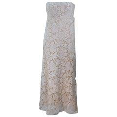 GALANOS Antique Cream Floral Strapless Lace Cocktail Dress Size 2-4