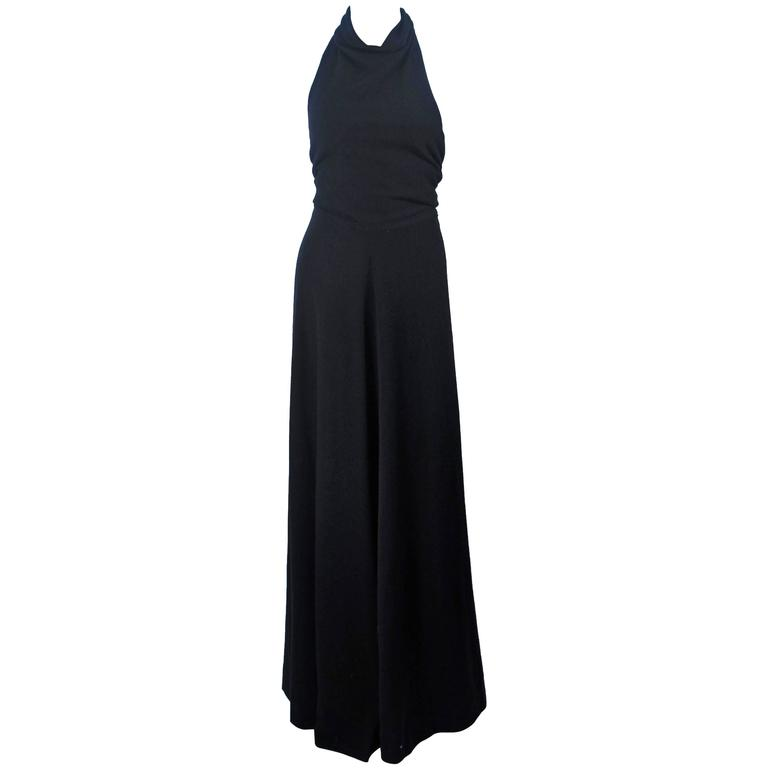 JEAN PATOU Black Wool Full Length Draped Neck Halter Dress Size 10