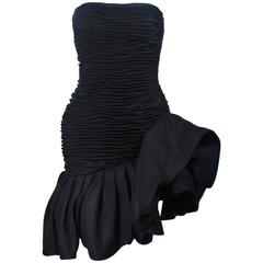 UNGARO Black Silk Gathered Cocktail Dress with Ruffle Detail Size 4-6