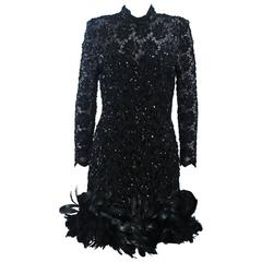 TRAVILLA Black Beaded Lace Cocktail Dress with Feather Trim Size 4-6