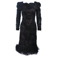 OSCAR DE LA RENTA Black Lace Cocktail Dress Ruffled Hem and Rhinestones Size 6-8