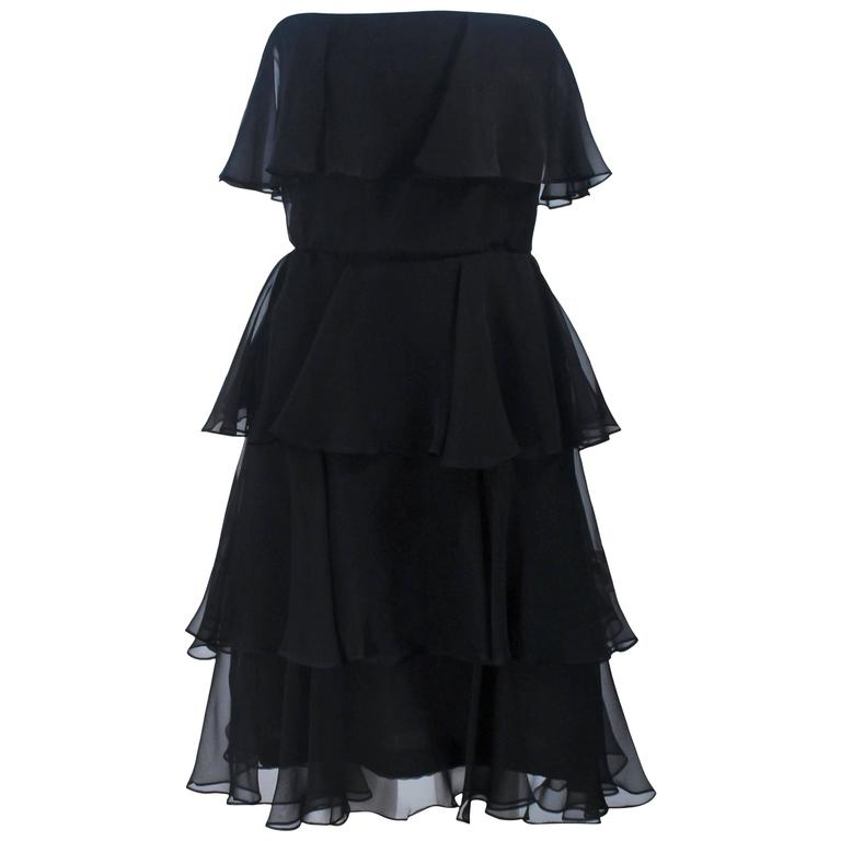 ESTEVEZ Black Silk Strapless Tiered Chiffon Cocktail Dress Size 4