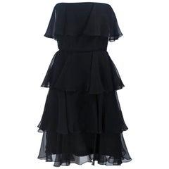 ESTEVEZ Black Silk Strapless Tiered Chiffon Cocktail Dress Size 4