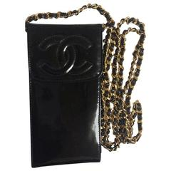 Vintage CHANEL black patent enamel leather mini pouch purse with golden chain