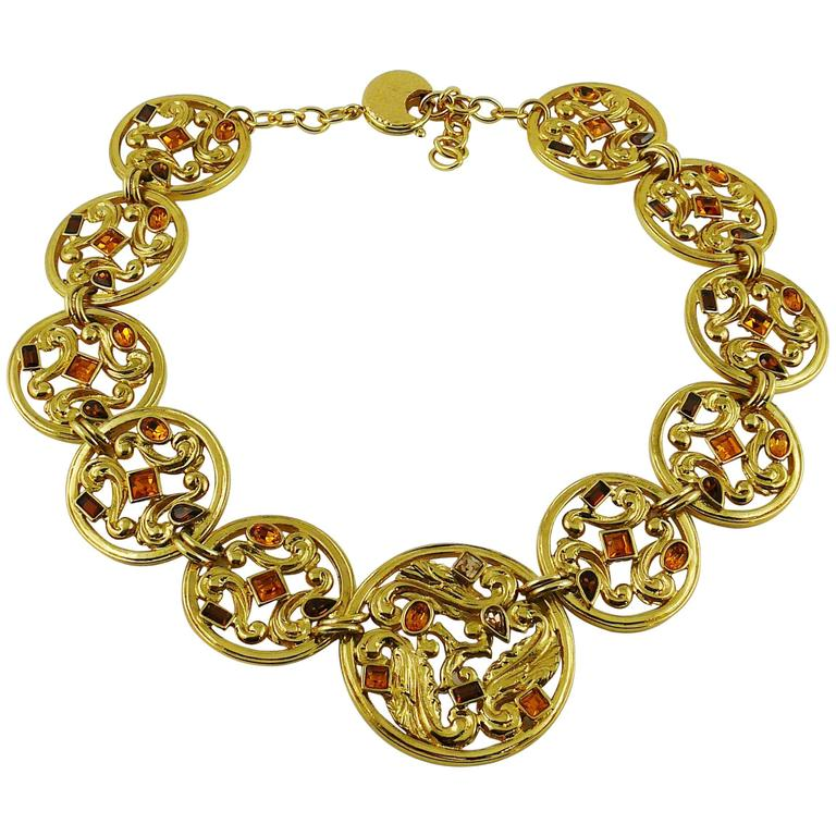 Yves Saint Laurent YSL Vintage Jewelled Openwork Scroll Medallion Necklace For Sale
