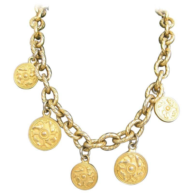vintage salvatore ferragamo statement necklace with golden