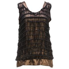 Brunello Cucinelli Bronze and Gray Knit Beaded Sleeveless Tank Top (Size M)