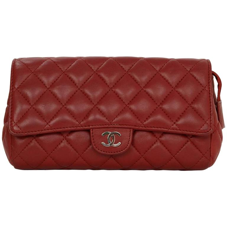 Chanel Red Quilted Lambskin Flap Cosmetic Bag/ Clutch SHW For Sale ... : chanel quilted lambskin clutch bag - Adamdwight.com