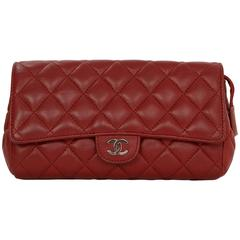 Chanel Red Quilted Lambskin Flap Cosmetic Bag/ Clutch  SHW