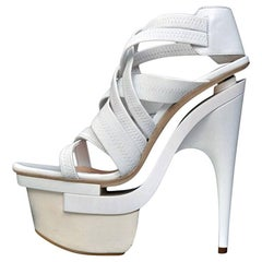 Versace White leather platform sandals