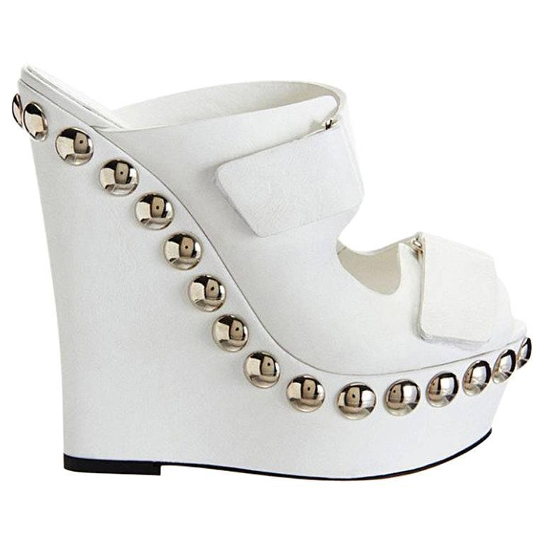 6ba1da1d0c4 Giambattista Valli White Leather Studded Platform Shoes For Sale at ...