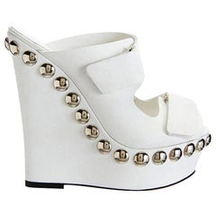 Giambattista Valli White Leather Studded Platform Shoes