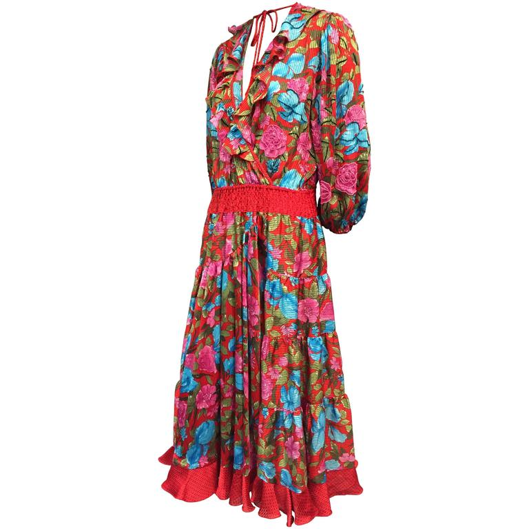 1980s Diane Frès Floral Print Georgette Peasant Gypsy Style Dress