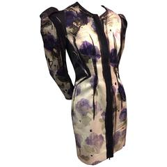 Lanvin Runway Silk Hand-Painted Ombré Floral Dress Jacket w Shoulder Pleats