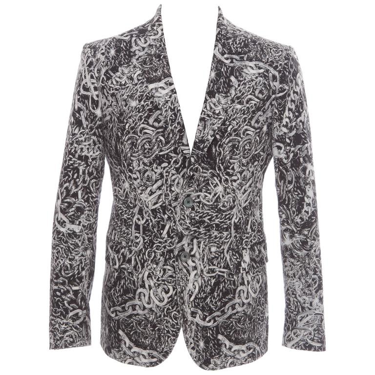 Moschino Men's Cotton Chain Print Blazer, Spring 2013