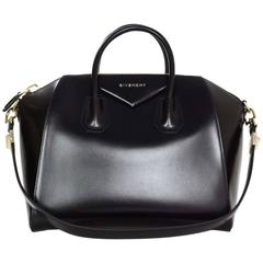 Givenchy Black Glazed Leather Medium Antigona Bag SHW
