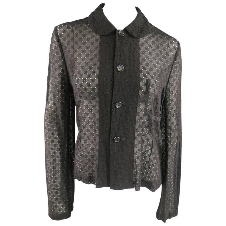 COMME des GARCONS 40 Black Perforated Peter Pan Collar Jacket