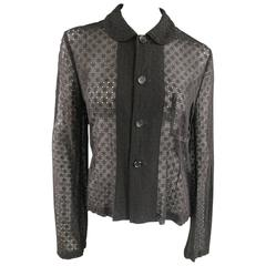 COMME des GARCONS 40 Black Perforated Peter Pan Collar Jacket