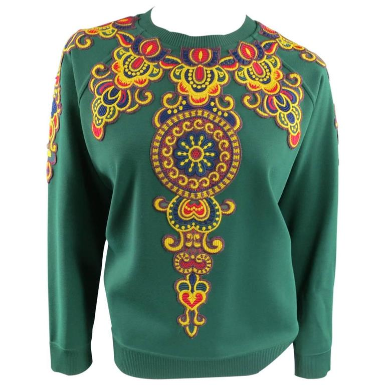 VALENTINO Size L Green Viscose Blend Embroidered Collar Pullover For Sale