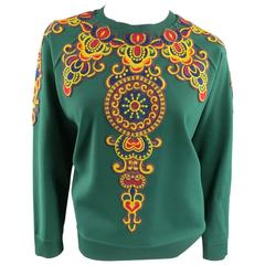 VALENTINO Size L Green Viscose Blend Embroidered Collar Pullover