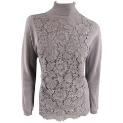 VALENTINO Size L Mauve Virgin Wool Lace Panel Turtleneck