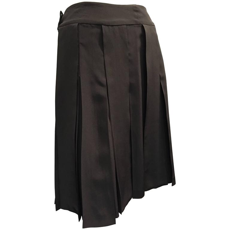 chanel black summer weight silk pleated skirt w wide