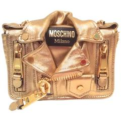 Moschino Gold Biker Jacket Handbag - Rare