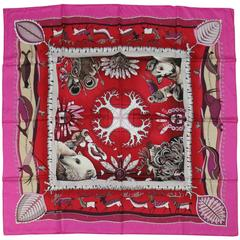 HERMES Red & Pink La Vie du Grand Nord The Nordic Life Silk Scarf