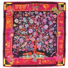 HERMES Black Orange Pink & Teal Loic Dubigeon Silk Scarf