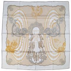 HERMES White Gold & Silver Doigts de Fee Silk Scarf