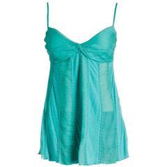 Catherine Malandrino Aqua Green Spaghetti Strap Sheer and Jersey Top (Size S)