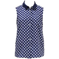 Kate Spade Blue and White Sleeveless Gingham Button Top (Size 8)