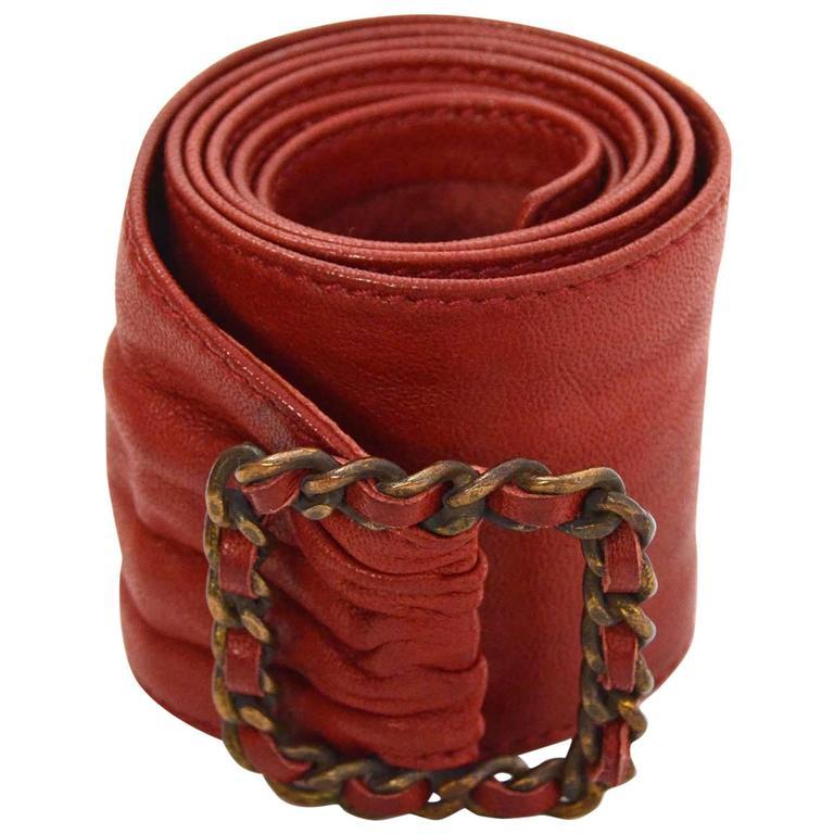 Chanel Red Leather Sash Belt BHW