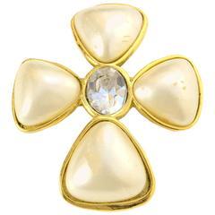 Chanel Pearl & Crystal Cross Brooch