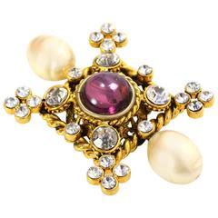 Chanel Crystal & Pearl  Gold Brooch
