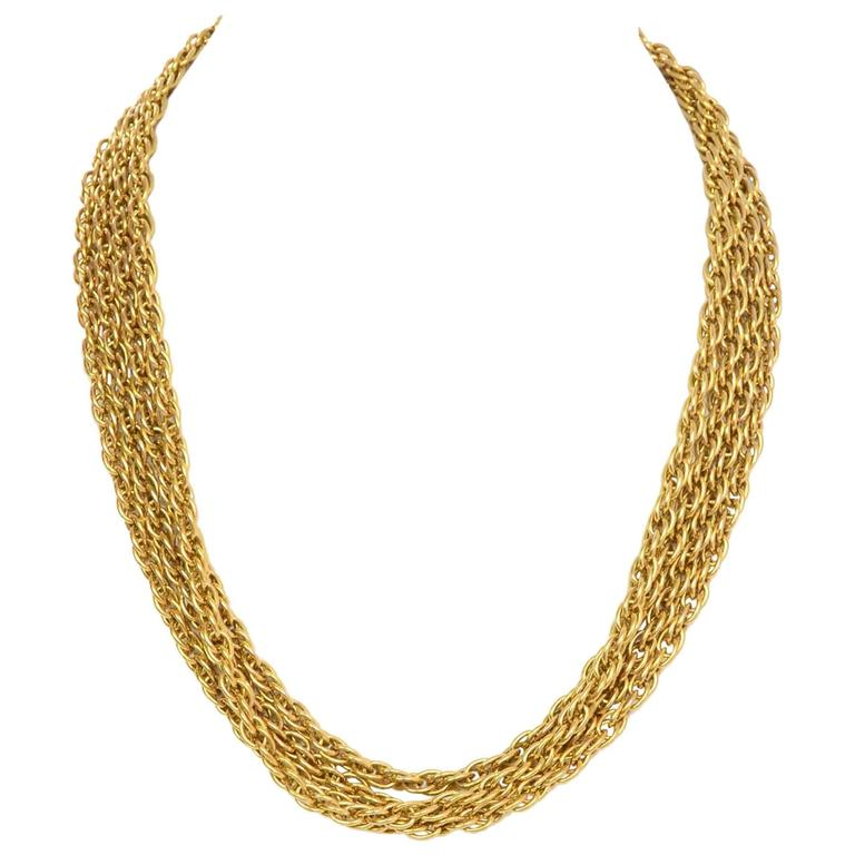 Chanel Vintage '90s Gold Double Strand Chain Link Necklace 2